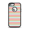 The Vintage Brown-Teal-Pink Chevron Pattern Apple iPhone 5-5s Otterbox Defender Case Skin Set
