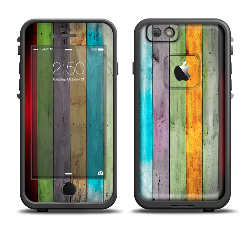 The Vintage Colored Wooden Planks Apple iPhone 6/6s LifeProof Fre Case Skin Set