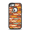 The Vintage Dark Red Mustache Pattern Apple iPhone 5-5s Otterbox Defender Case Skin Set