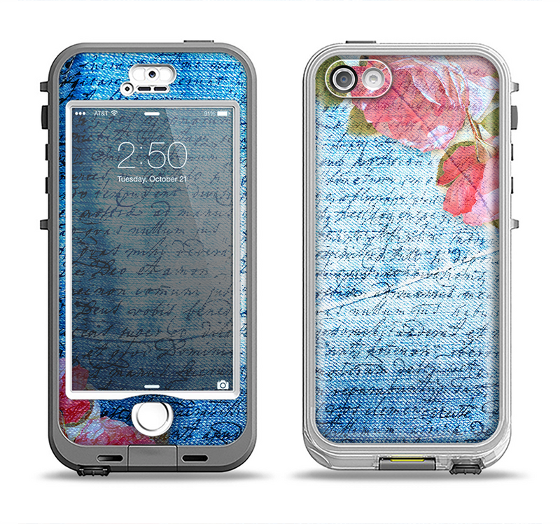 The Vintage Denim & Pink Floral Apple iPhone 5-5s LifeProof Nuud Case Skin Set