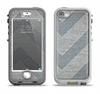 The Vintage Gray Textured Chevron Pattern Wide V3 Apple iPhone 5-5s LifeProof Nuud Case Skin Set