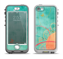 The Vintage Green Grunge Texture with Orange Apple iPhone 5-5s LifeProof Nuud Case Skin Set