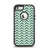 The Vintage Green & Tan Chevron Pattern Apple iPhone 5-5s Otterbox Defender Case Skin Set