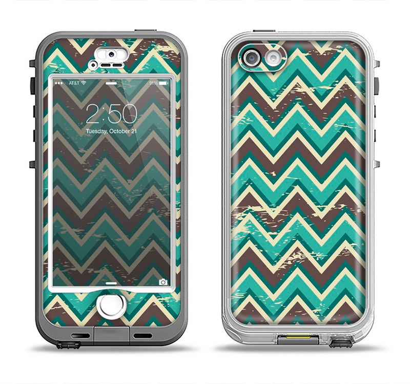 The Vintage Green & Tan Chevron Pattern V4 Apple iPhone 5-5s LifeProof Nuud Case Skin Set