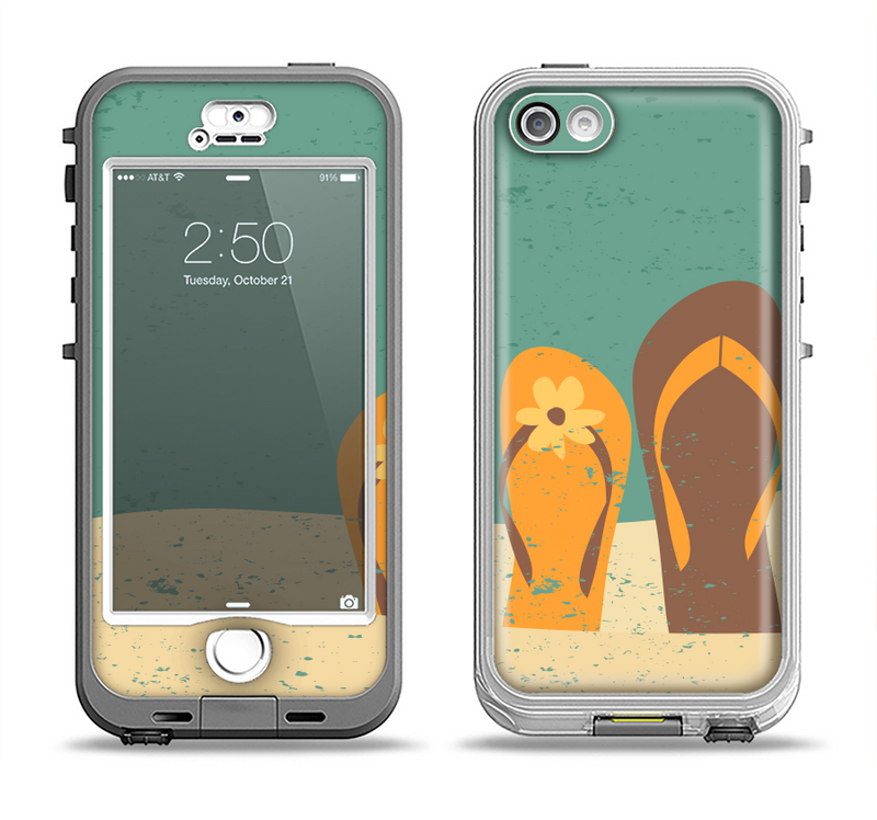 The Vintage His & Her Flip Flops Beach Scene Apple iPhone 5-5s LifeProof Nuud Case Skin Set