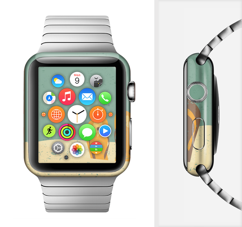 The Vintage His & Her Flip Flops Beach Scene Full-Body Skin Set for the Apple Watch