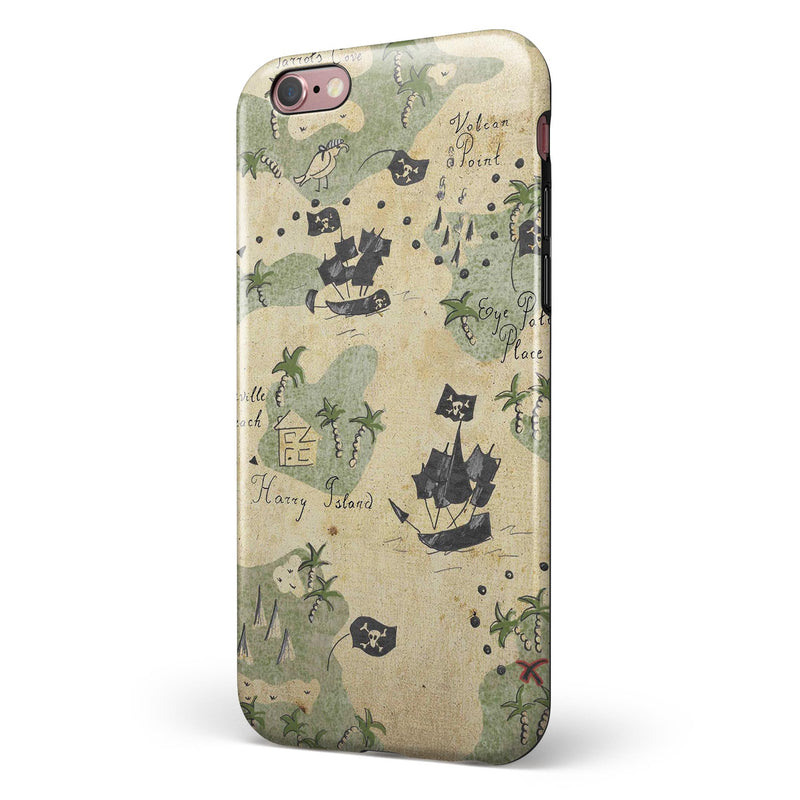 The Vintage Map of Pirate Islands iPhone 6/6s or 6/6s Plus 2-Piece Hybrid INK-Fuzed Case