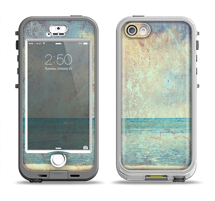 The Vintage Ocean Vintage Surface Apple iPhone 5-5s LifeProof Nuud Case Skin Set