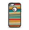 The Vintage Orange Slanted Stripes Apple iPhone 5-5s Otterbox Defender Case Skin Set