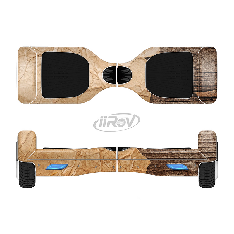 The Vintage Paper-Wrapped Wood Planks Full-Body Skin Set for the Smart Drifting SuperCharged iiRov HoverBoard