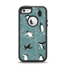 The Vintage Penguin Blue Collage Apple iPhone 5-5s Otterbox Defender Case Skin Set