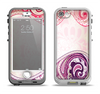 The Vintage Purple Curves with Floral Design Apple iPhone 5-5s LifeProof Nuud Case Skin Set