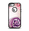 The Vintage Purple Curves with Floral Design Apple iPhone 5-5s Otterbox Defender Case Skin Set