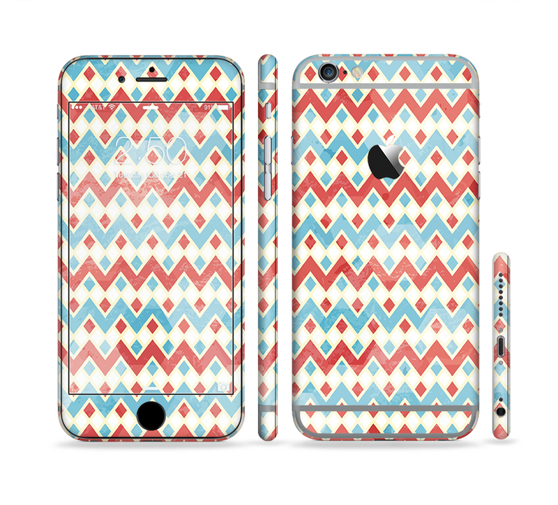 The Vintage Red & Blue Chevron Pattern Sectioned Skin Series for the Apple iPhone 6/6s Plus