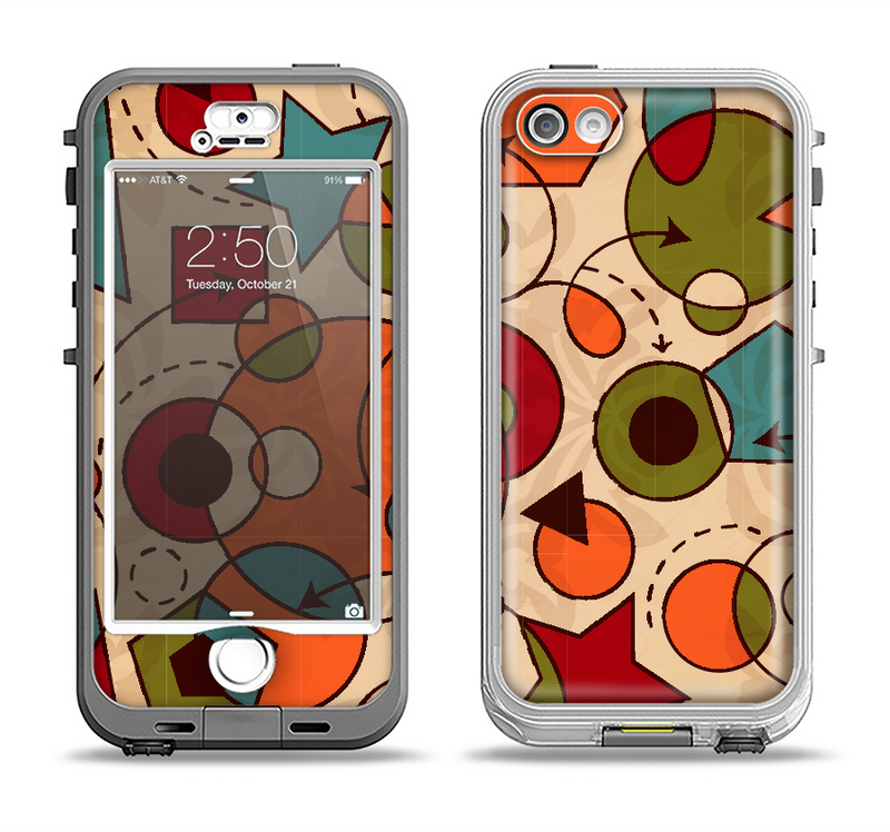 The Vintage Red and Tan Abstarct Shapes Apple iPhone 5-5s LifeProof Nuud Case Skin Set