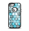 The Vintage Scratched Blue & Graytone Polka Apple iPhone 5-5s Otterbox Defender Case Skin Set