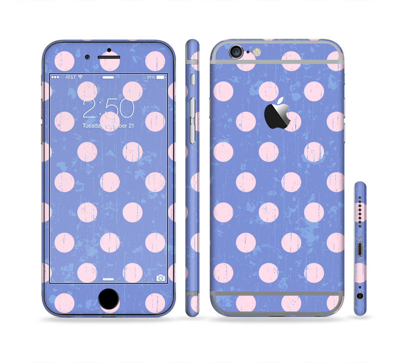 The Vintage Scratched Pink & Purple Polka Dots Sectioned Skin Series for the Apple iPhone 6/6s Plus