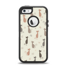 The Vintage Solid Cat Shadows Apple iPhone 5-5s Otterbox Defender Case Skin Set