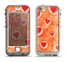 The Vintage Subtle Red and Orange Hearts Apple iPhone 5-5s LifeProof Nuud Case Skin Set