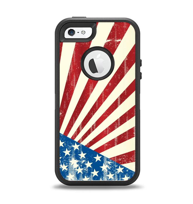 The Vintage Tan American Flag Apple iPhone 5-5s Otterbox Defender Case Skin Set