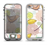 The Vintage Tan & Gold Vector Birds with Flowers Apple iPhone 5-5s LifeProof Nuud Case Skin Set