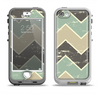 The Vintage Tan & Green Scratch Tall Chevron Apple iPhone 5-5s LifeProof Nuud Case Skin Set
