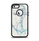 The Vintage White and Blue Anchor Illustration Apple iPhone 5-5s Otterbox Defender Case Skin Set
