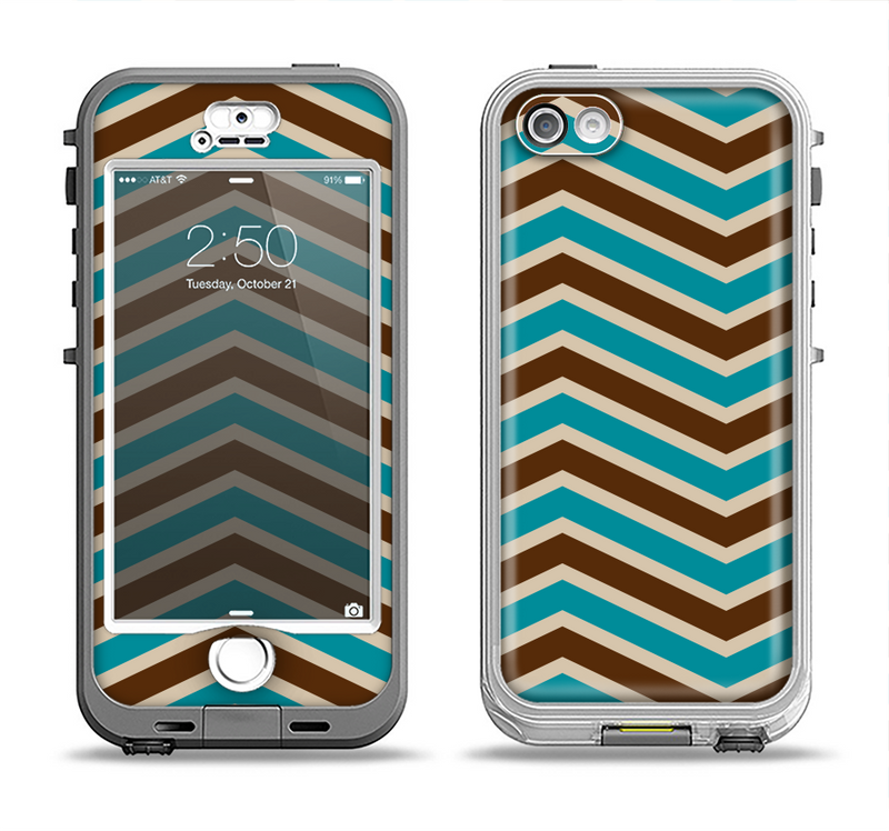 The Vintage Wide Chevron Pattern Brown & Blue Apple iPhone 5-5s LifeProof Nuud Case Skin Set