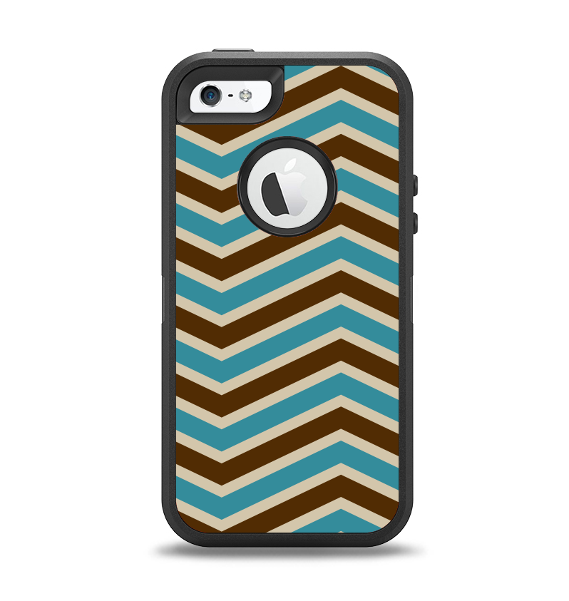 The Vintage Wide Chevron Pattern Brown & Blue Apple iPhone 5-5s Otterbox Defender Case Skin Set