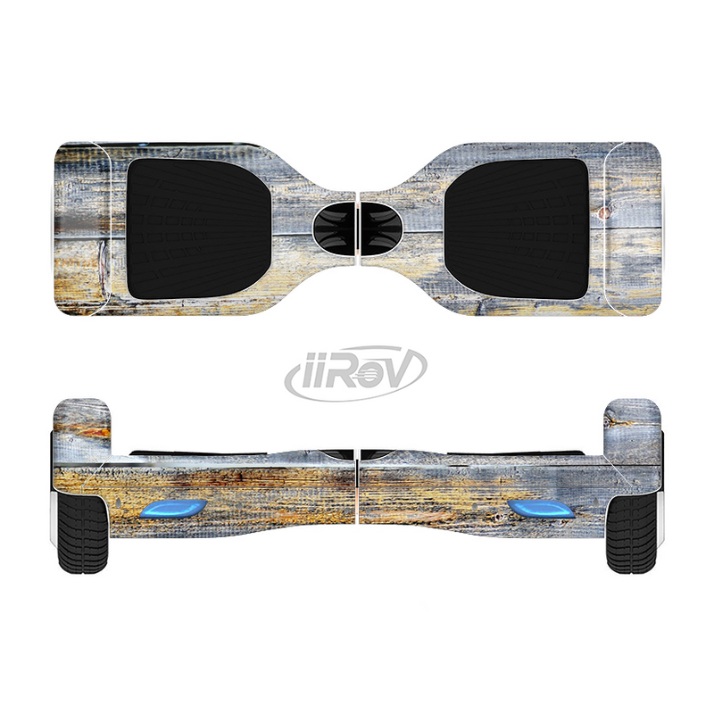 The Vintage Wooden Planks with Yellow Paint Full-Body Skin Set for the Smart Drifting SuperCharged iiRov HoverBoard