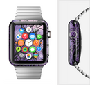 The Violet with Black Highlighted Spirals Full-Body Skin Set for the Apple Watch