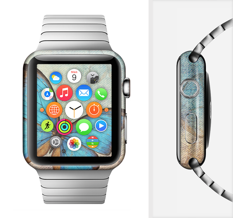 The Vivid Blue Butterfly On Textile Full-Body Skin Set for the Apple Watch