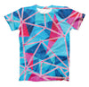 The Vivid Blue and Pink Sharp Shapes ink-Fuzed Unisex All Over Full-Printed Fitted Tee Shirt