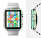 The Vivid Green and Yellow Woven Pattern Full-Body Skin Set for the Apple Watch