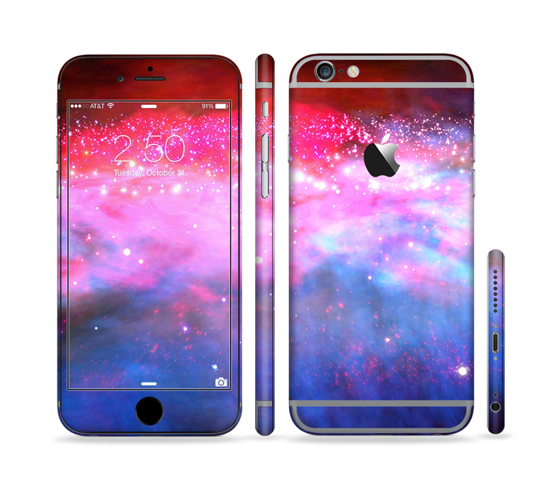 The Vivid Pink and Blue Space Sectioned Skin Series for the Apple iPhone 6/6s Plus