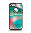 The Vivid Turquoise 3D Wave Pattern Apple iPhone 5-5s Otterbox Defender Case Skin Set