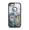 The Watercolor Blue Vintage Flowers Apple iPhone 5-5s Otterbox Defender Case Skin Set