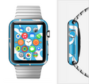 The White Mustaches with blue background Full-Body Skin Set for the Apple Watch