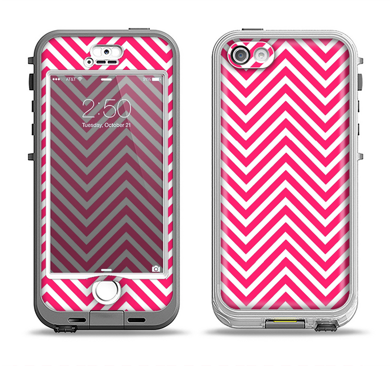The White & Pink Sharp Chevron Pattern Apple iPhone 5-5s LifeProof Nuud Case Skin Set
