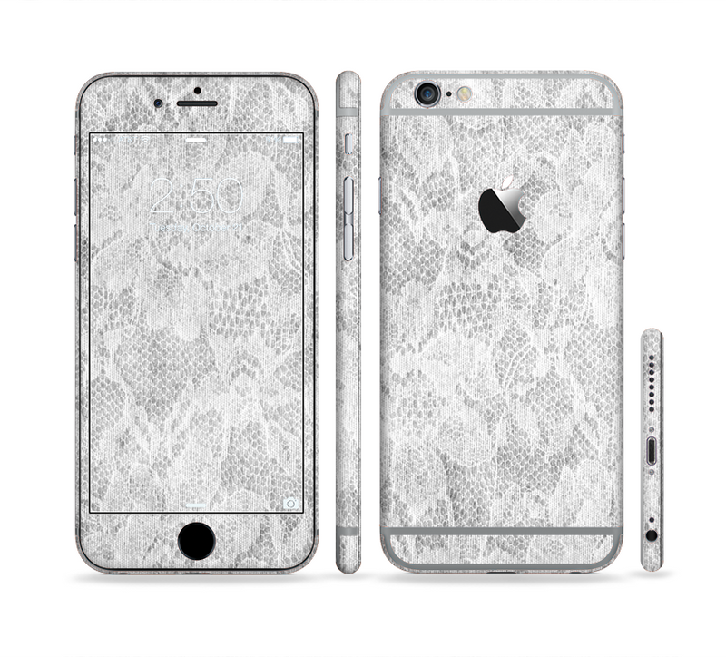 The White Textured Lace Sectioned Skin Series for the Apple iPhone 6/6s Plus