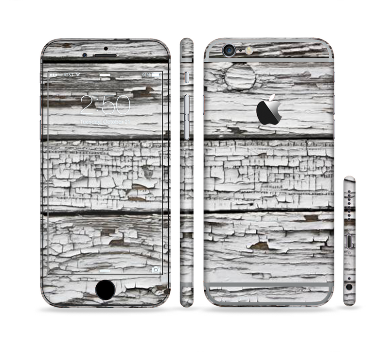 The White Wide Aged Wood Planks Sectioned Skin Series for the Apple iPhone 6/6s Plus