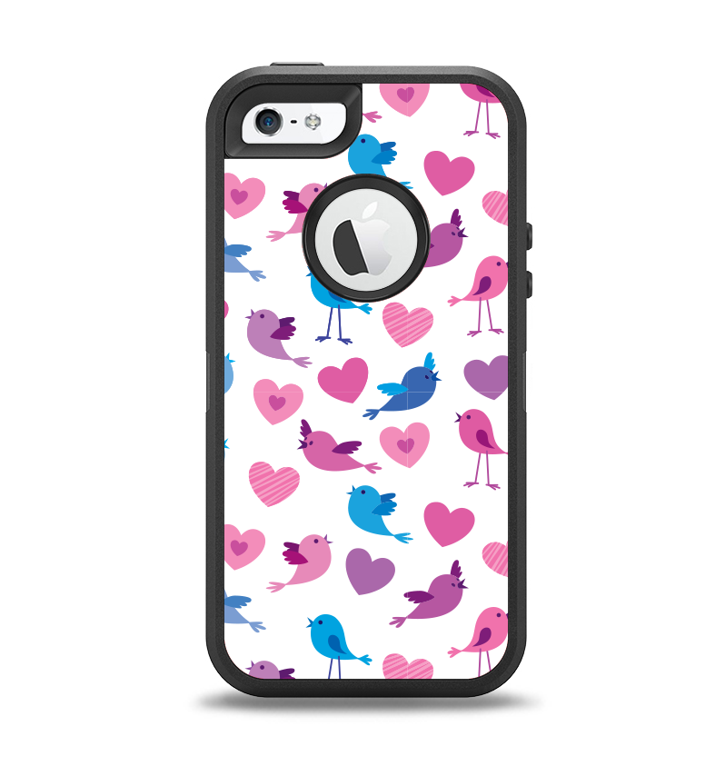 The White with Pink & Blue Vector Tweety Birds Apple iPhone 5-5s Otterbox Defender Case Skin Set