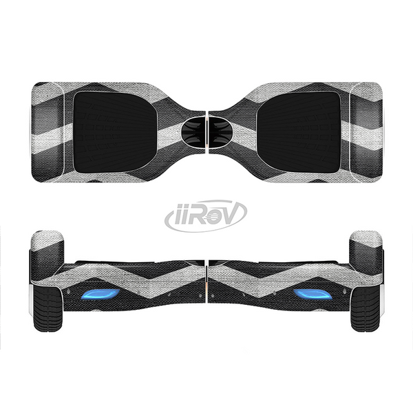 The Wide Black and Light Gray Chevron Pattern V3 Full-Body Skin Set for the Smart Drifting SuperCharged iiRov HoverBoard