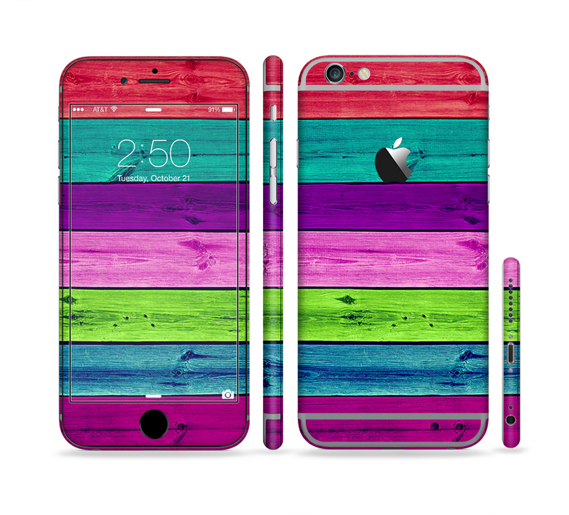 The Wide Neon Wood Planks Sectioned Skin Series for the Apple iPhone 6/6s Plus