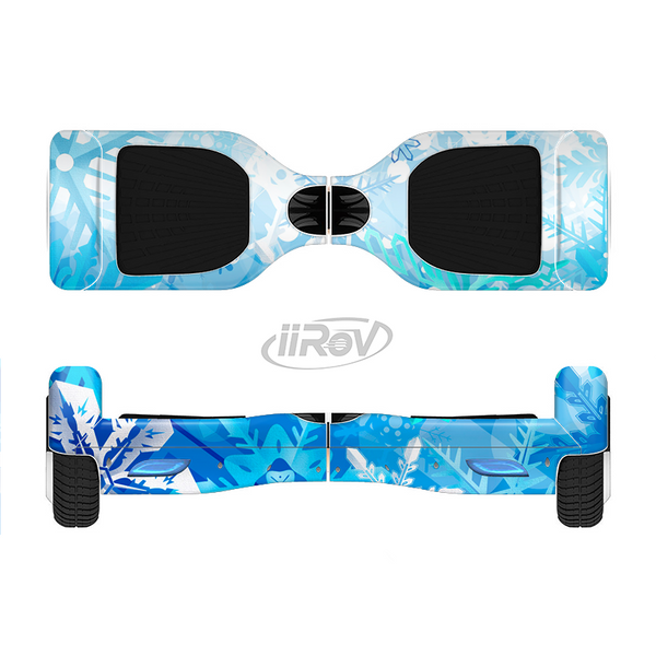 The Winter Abstract Blue Full-Body Skin Set for the Smart Drifting SuperCharged iiRov HoverBoard