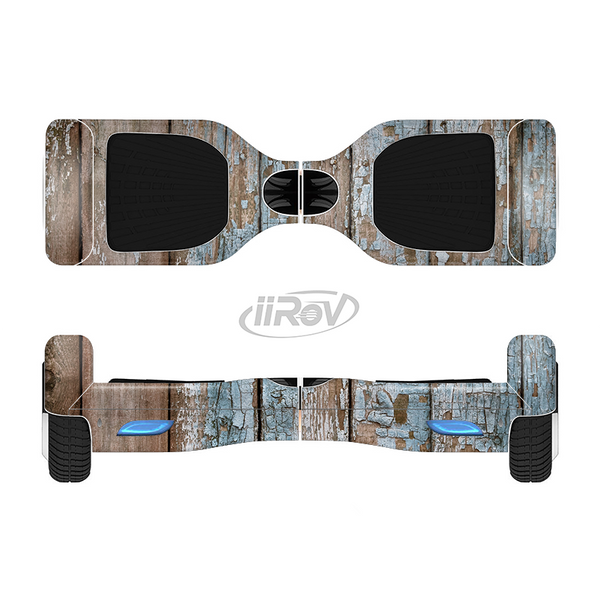 The Wood Planks with Peeled Blue Paint Full-Body Skin Set for the Smart Drifting SuperCharged iiRov HoverBoard