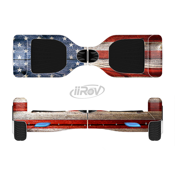 The Wooden Grungy American Flag Full-Body Skin Set for the Smart Drifting SuperCharged iiRov HoverBoard