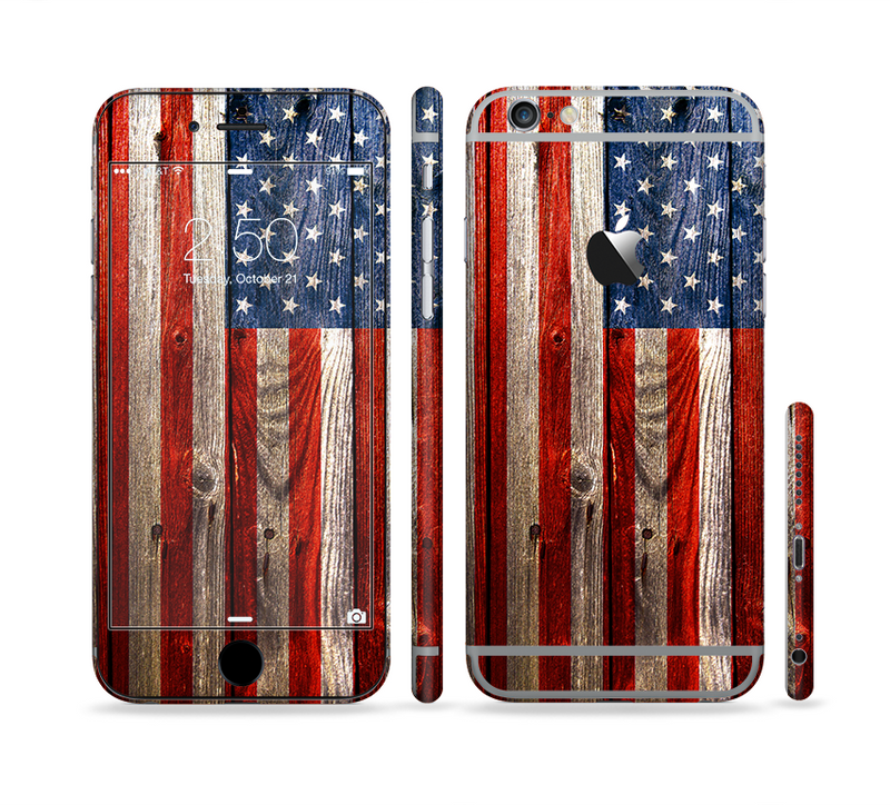 The Wooden Grungy American Flag Sectioned Skin Series for the Apple iPhone 6/6s Plus
