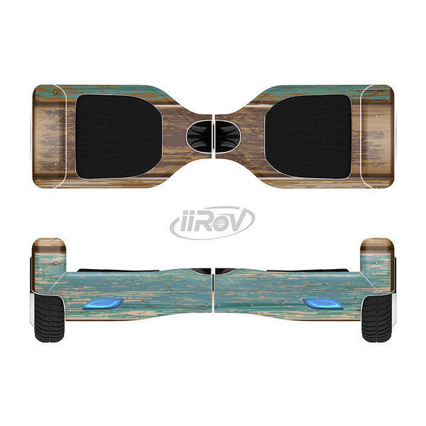 The Wooden Planks with Chipped Green and Brown Paint Full-Body Skin Set for the Smart Drifting SuperCharged iiRov HoverBoard
