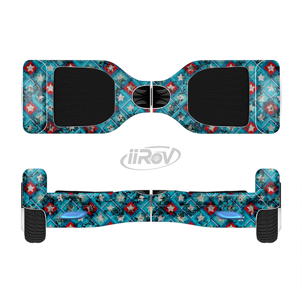The Worn Dark Blue Checkered Starry Pattern Full-Body Skin Set for the Smart Drifting SuperCharged iiRov HoverBoard